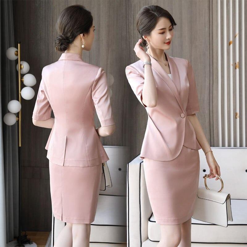 Elegante rosa senhora profissional terno verão 2020 nova moda senhoras jaqueta feminina saia de duas peças de alta qualidade terno