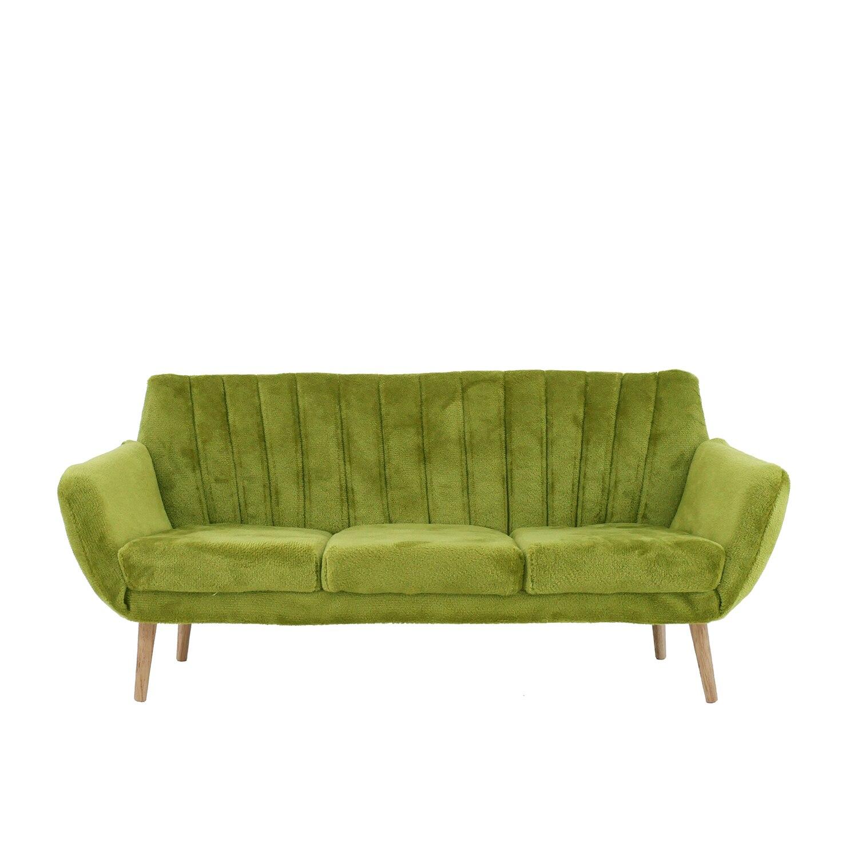 1/6 دمية مجسم لمنزل اكسسوارات أثاث نموذج مصغر الفانيلا ثلاثة مقاعد أريكة (يحتوي على وسادتين)