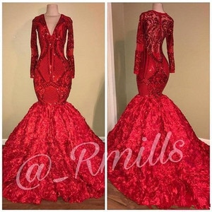 Red Sequins Applique Prom Formal Dresses 2020 V-neck Sparkly Luxury 3D Floral Bottoms African Arabic Long Sleeve Evening Gown
