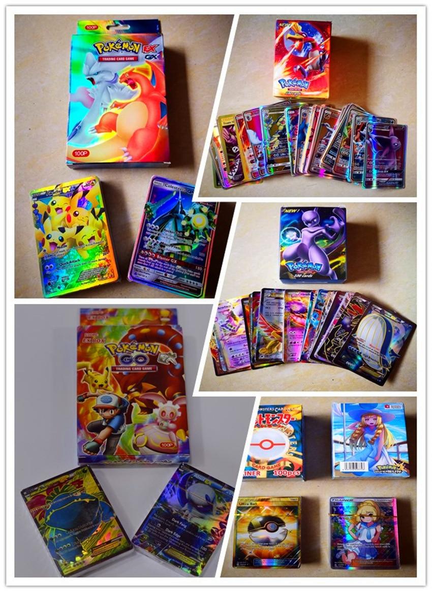 100 unids/set Pokemon TAKARA TOMY entrenador GX EX GA batalla juguetes aficiones Hobby coleccionables muñecos de colección de juegos de tarjetas para los niños