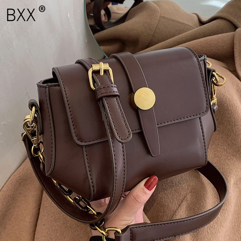 [BXX] Vintage PU Leather Crossbody Bags Brand Fashion New Quality Women's 2021 Luxury Chain Shoulder Handbag and Purses HQ783