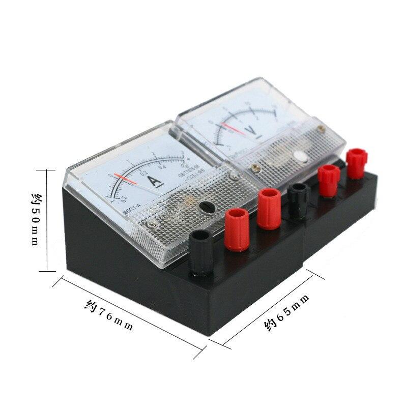 Ampèremètre voltmètre paire équipement dexpérience physique de compteur électrique miniature double gamme pour les étudiants