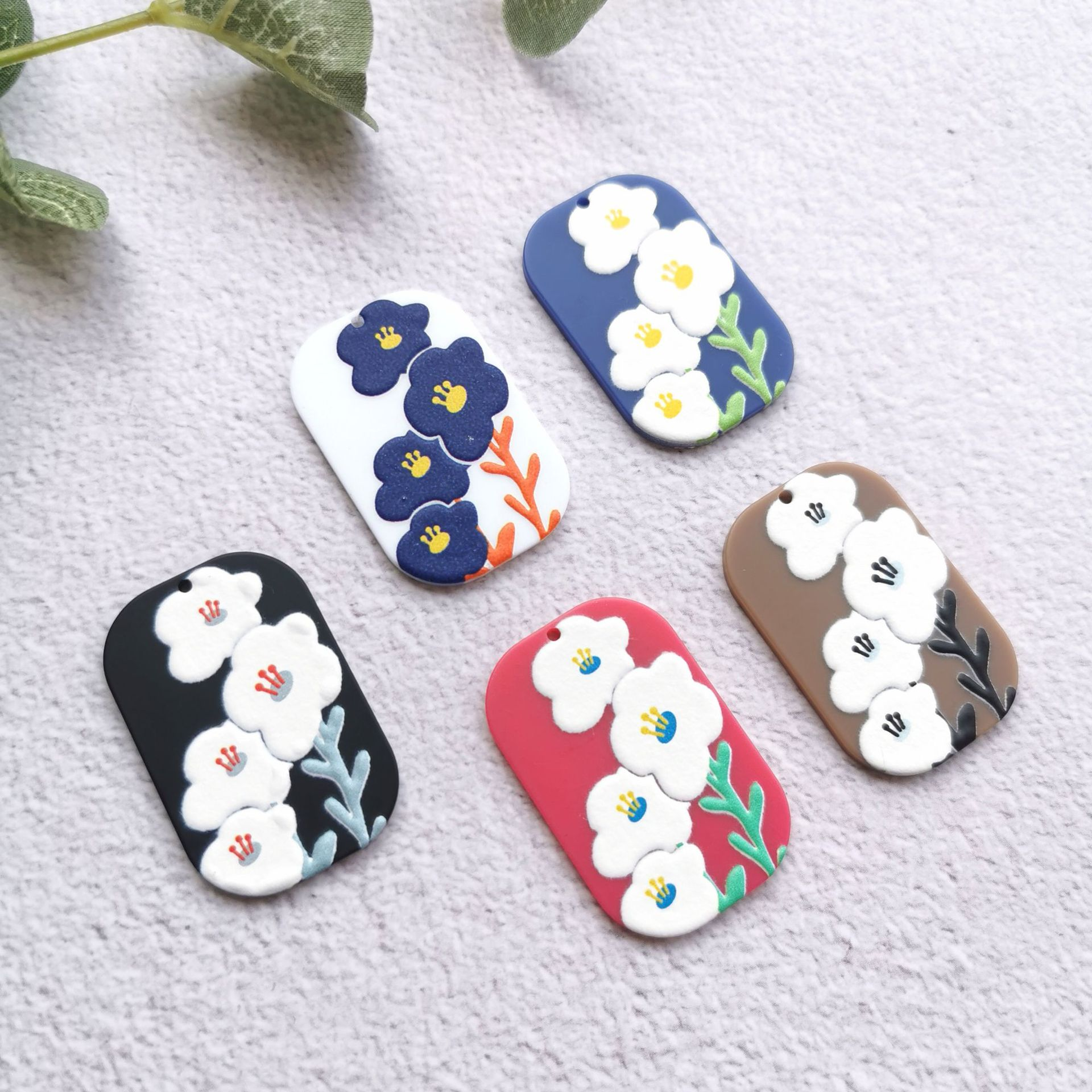 50PCS Van Gogh Painting Flowers Jewelry Accessories Hand Made Earrings Connectors DIY Pendant Jewelry Findings Components Charms