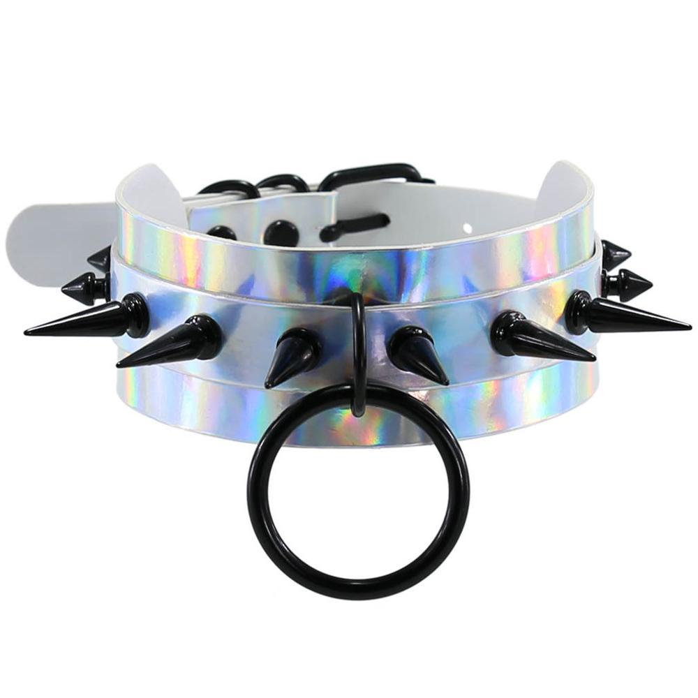 Punk gótico preto rebites pico laser holograma couro do plutônio gargantilha colar para mulheres holográfico harness collar anime jóias presente