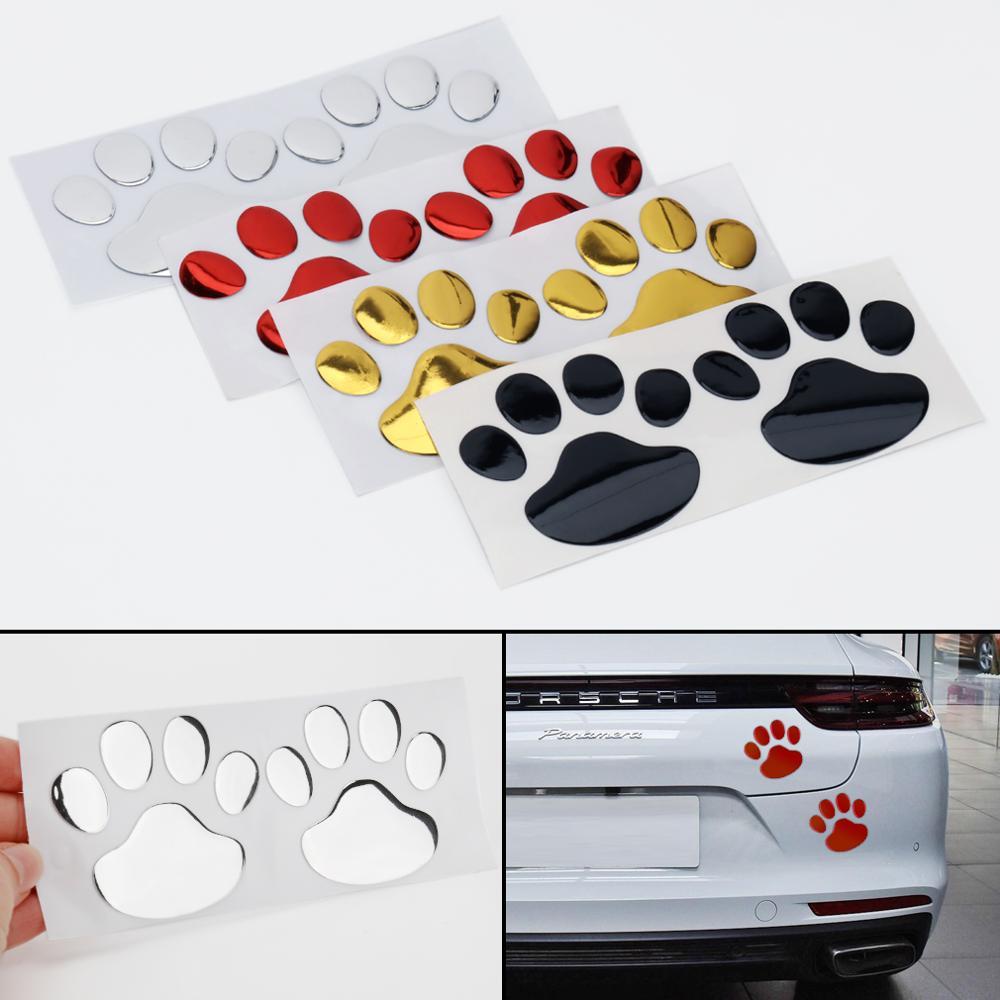 2 uds pegatina de coche garra 3D pegatina de dibujos animados Animal perro gato oso huellas de patas decoración de huellas pegatinas para toda la carrocería