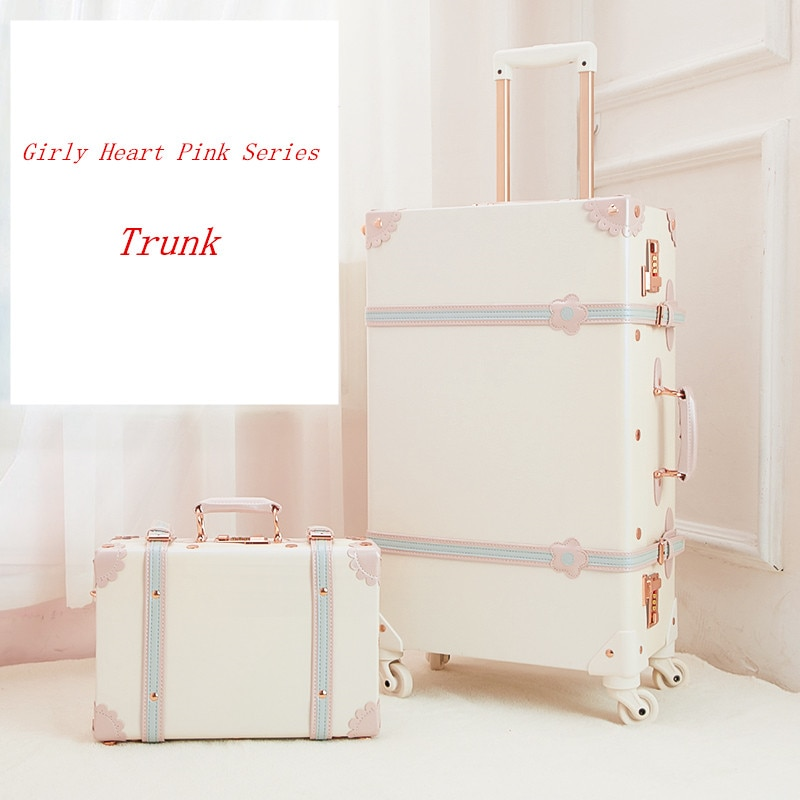 13 inch and 20 inch suit suitcase Retro Handmade luggage leather material Pink color piggy bag for woman custom trolley case