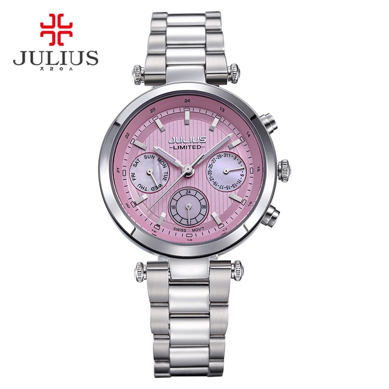 2017 Julius Watch Women Stainless Steel Chronograph 3 Dials Limited Edition Silver Quartz High Quality Top Brand Whatch JAL-029 enlarge