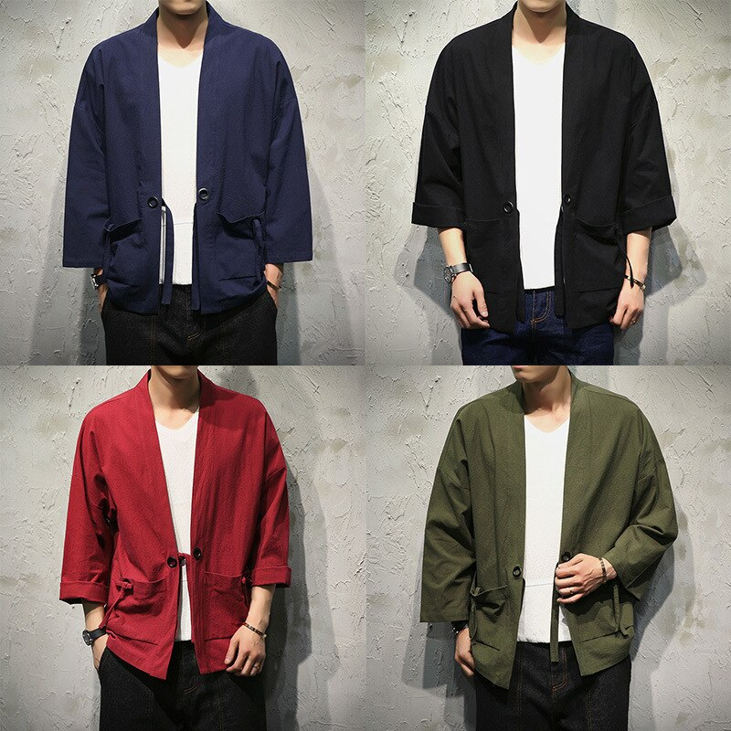 Camiseta kungfú chino para hombre, Kimono tradicional de lino, vestido Hanfu, traje Tang, chaquetas, blusa suelta, camiseta Yukata, atuendo asiático