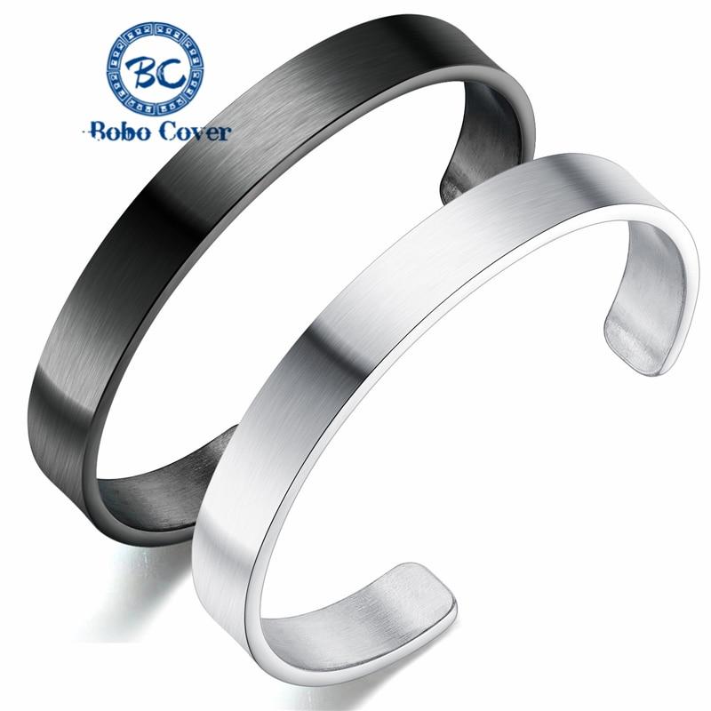 Mode classique bouton ouvert plat brillant hommes manchette bracelet bracelet haute qualité en acier inoxydable bracelets hommes tempérament bijoux
