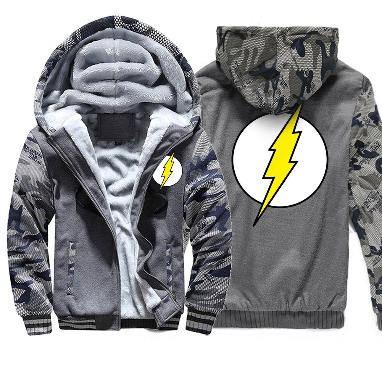 The Big Bang Sheldon The Flash Men Hoodies Camo Bodywarmer Fleece Long Sleeve Mens Sweatshirts 2019 Autumn Winter Jackets