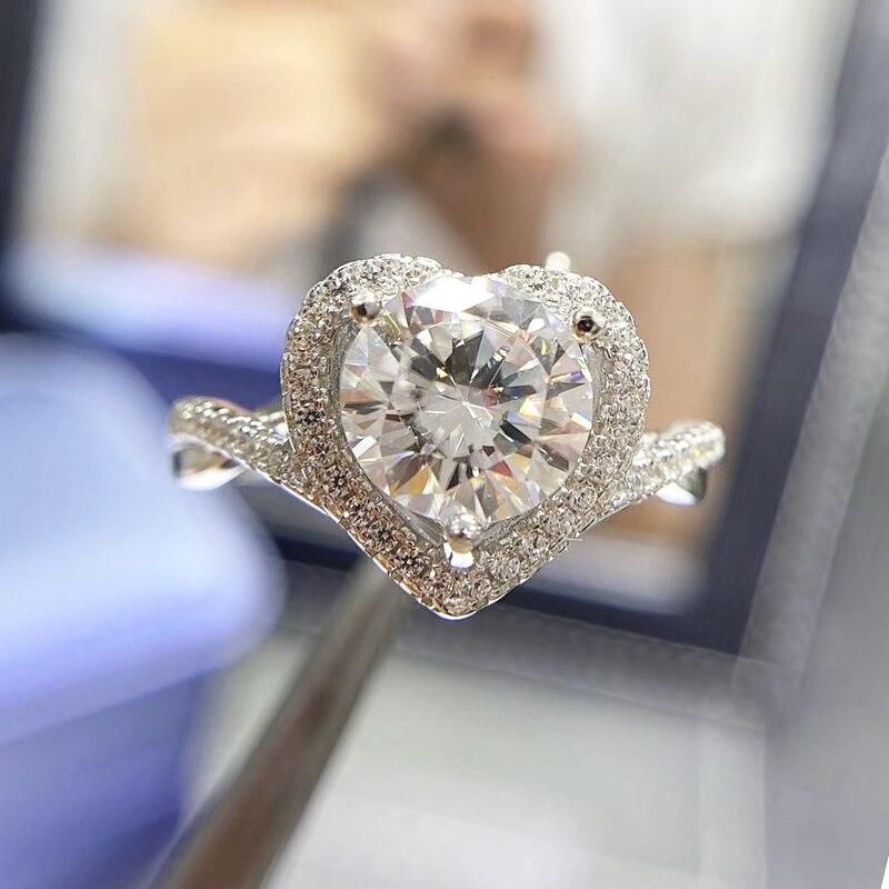 CoLife-خاتم من الفضة الإسترليني والمويسانتي ، خاتم خطوبة ، 925 فضة ، مويسانيتي ، مقاس 8 مللي متر ، 2 قيراط ، زفاف