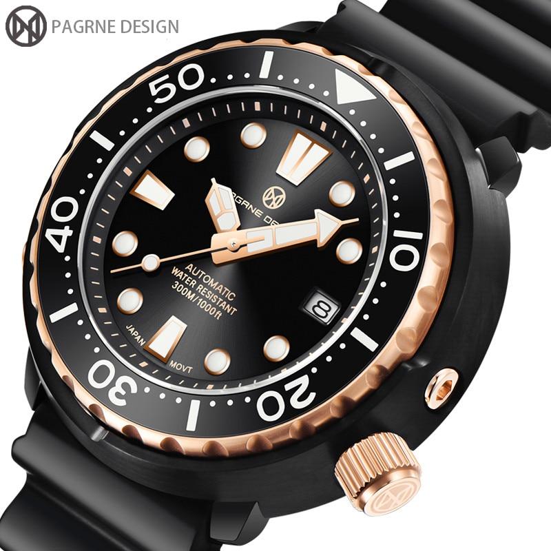 2021 PAGRNE تصميم العلامة التجارية الغوص 300 م الساعات التلقائي الميكانيكية الياقوت ساعة زجاجية للرجال ساعة رياضية الرجال Relogio Masculino
