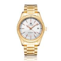 Automatic Mechanical Men Wristwatch Gift Luxury Gold white Man self Winding Alloy Watch Calendar male clocks montre homme