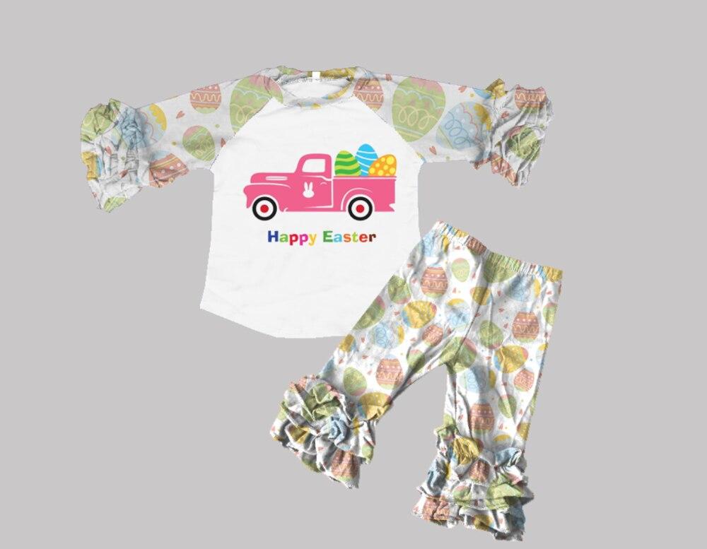 طقم ملابس للفتيات الصغيرات, توب متطابق مع البنطلون ، ملابس قطنية مكشكشة لموسم الربيع والصيف