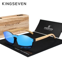 KINGSEVEN Brand Fashion 100%Handmade Natural Bamboo Men Sunglasses Round Polarized Sun Glasses Women