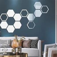Autocollant mural hexagonal miroir 3D  sparadrap de mur de salle de bains de salon  decoration de maison  DIY bricolage