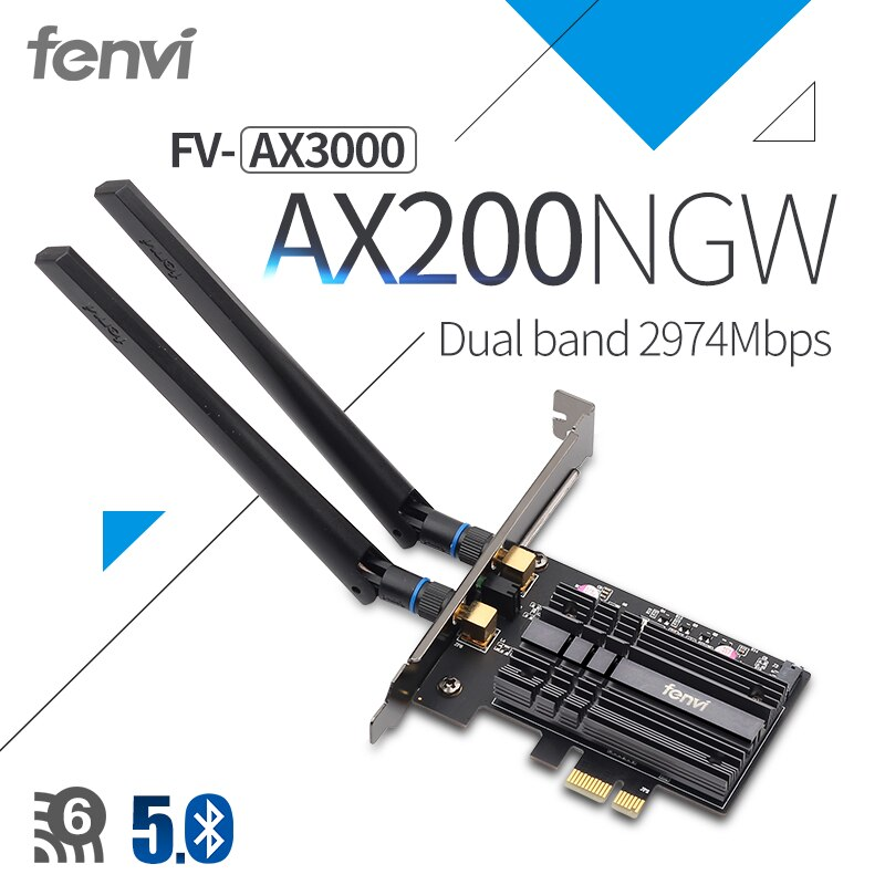 Fenvi inalámbrico AX3000 Wi-Fi 6 3000Mbps PCIe Bluetooth 5,1 Wifi adaptador Intel AX200 tarjeta Wi-Fi 802 11ac/ax 2,4G/5Ghz para escritorio