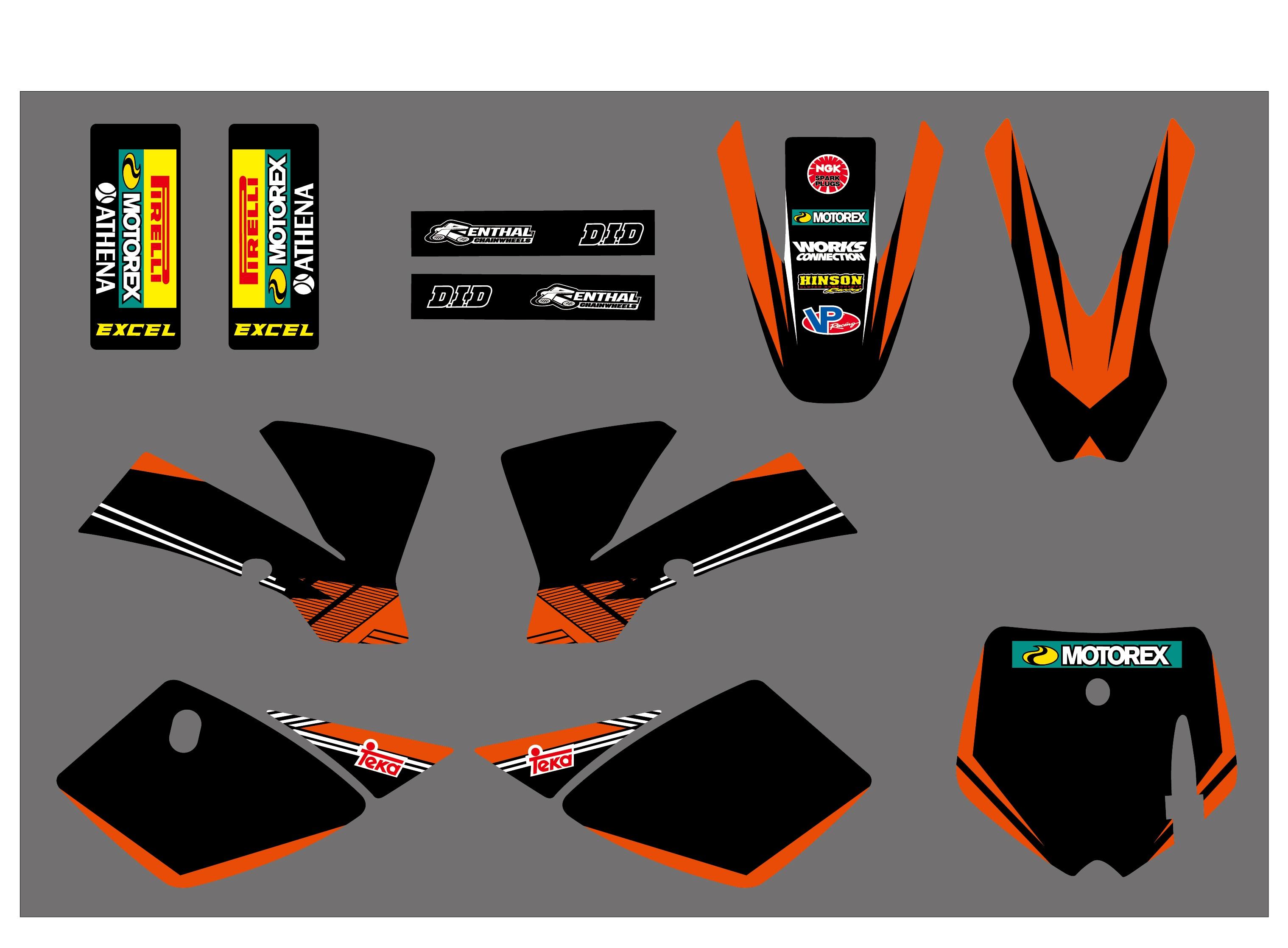 دراجة نارية فريق الرسومات الشارات ملصقات ديكو مجموعة ل KTM 50 SX50 SX 50CC مغامرة صغيرة MTK50 2002 2003 2004 2005 2006 2007 2008