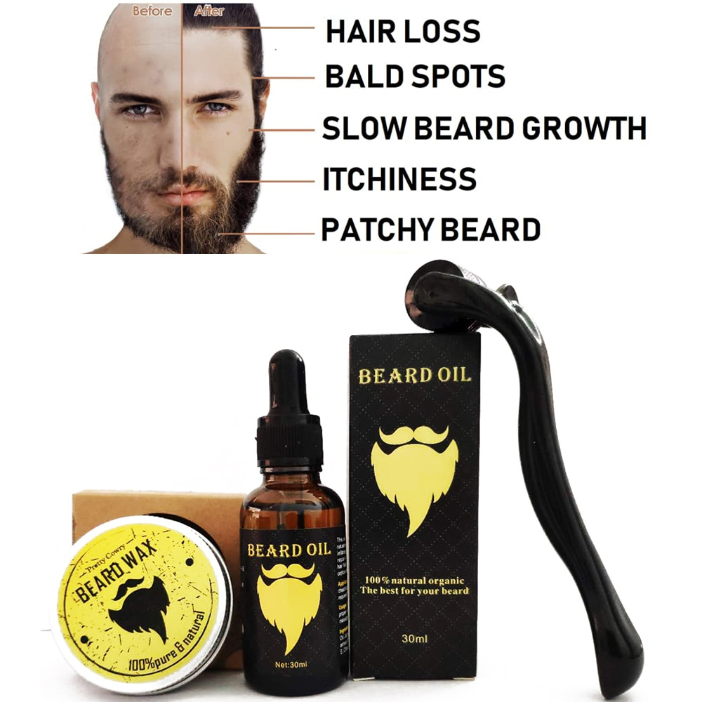 Beard Growth Kit, Beard Derma Roller+ Beard Growth Serum Oil+ Beard Balm, Facial Hair Growth Kit, De