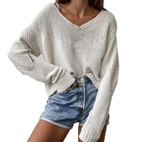 elastic blouse v neck knitted top blouse for home autumn sweater elastic blouse v neck knitted top blouse for home
