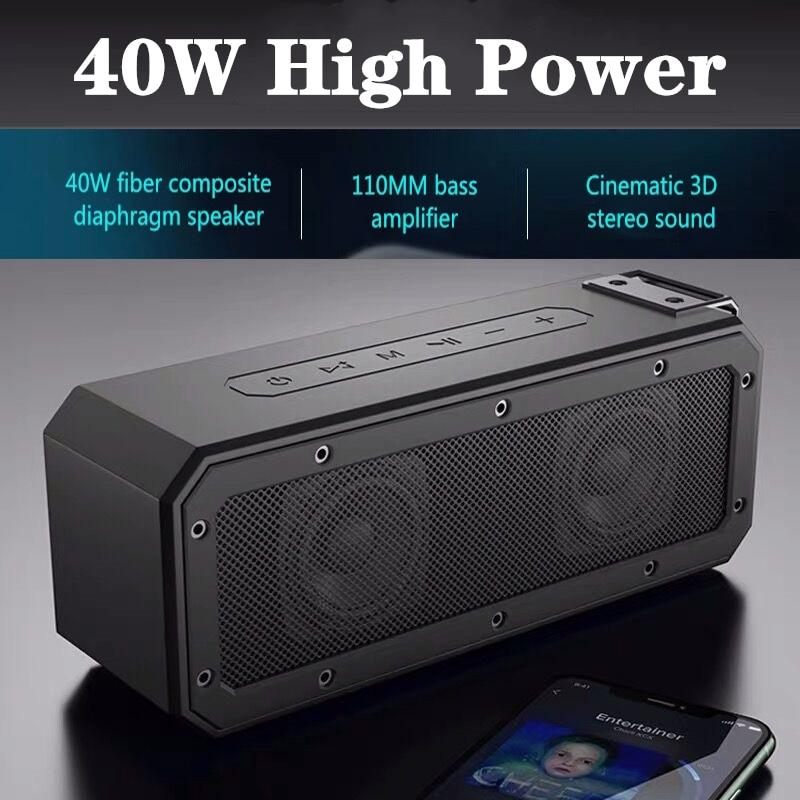 40 واط سمّاعات بلوتوث IP7X درجة مقاوم للماء محمول صوت عمود مضخم صوت لاسلكي شريط الصوت يدعم راديو FM USB TF بوم بوكس