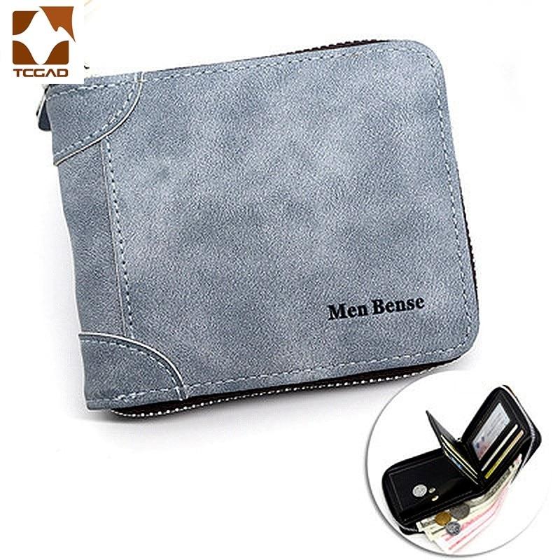 Billetera de cuero para hombre, billetera corta de negocios de Color sólido,...