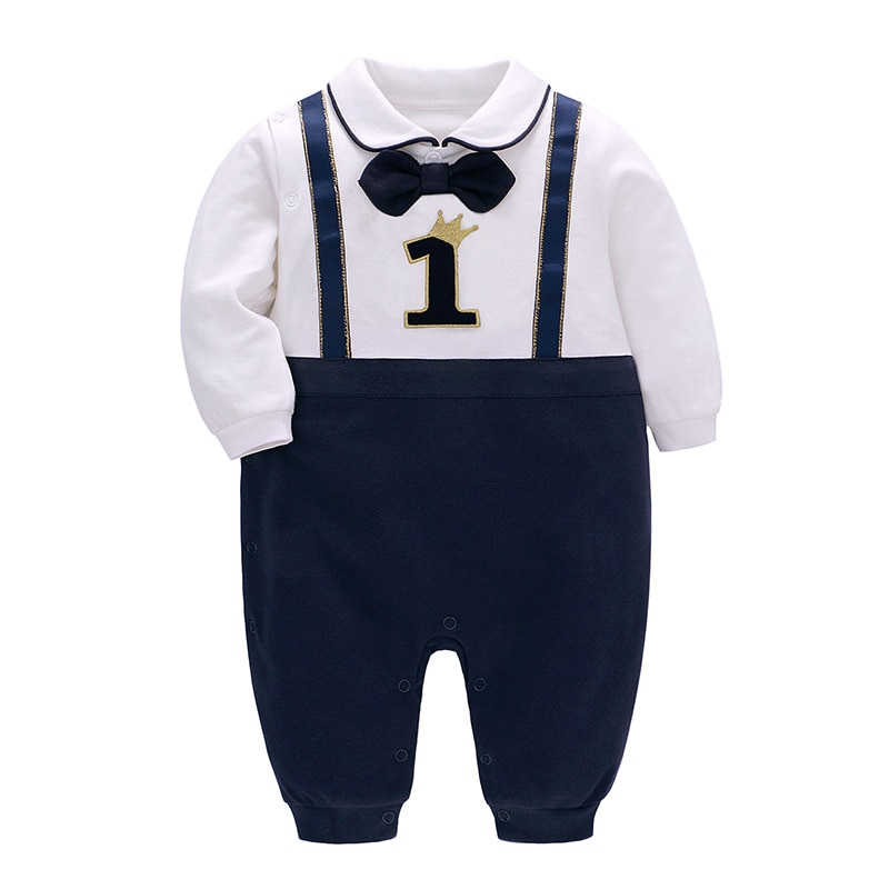 Baby Boy Birth Clothes Newborn Boys Romper Jumpsuit Overalls For Christening Formal Gentleman Wedding Birthday Party Outfit