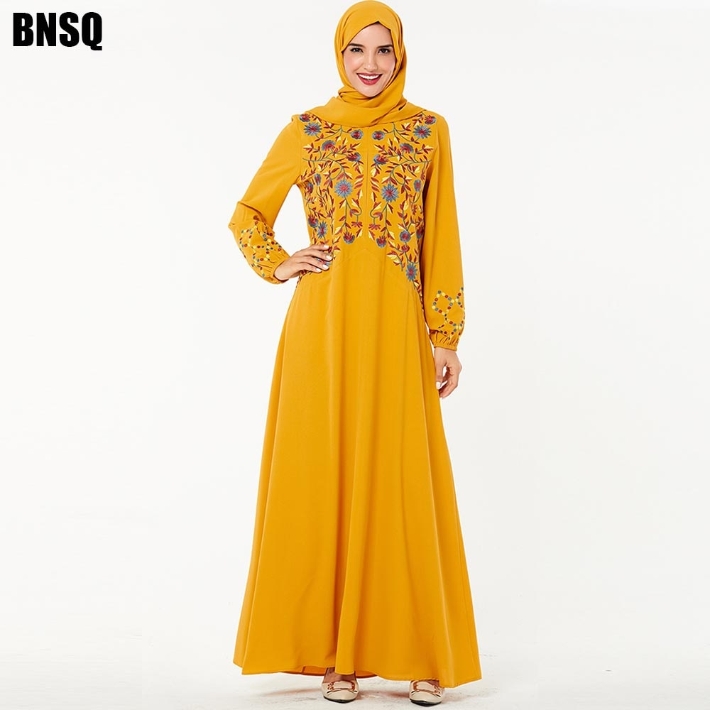 BNSQ Moda Mulheres Jilbab Abaya Vestido Dos Muçulmanos Vestuário Islâmico Malásia Djellaba Robe Bordado Maxi Vestido Indiano Plus Size Duba