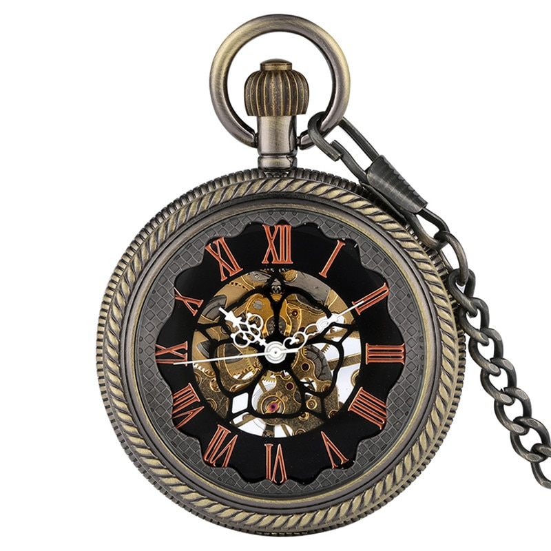 Bronze Mens Hand Winding Mechanical Pocket Watch Retro Skeleton Clock Roman Numeral Dial Half Hunter Pendant Chain Gift reloj
