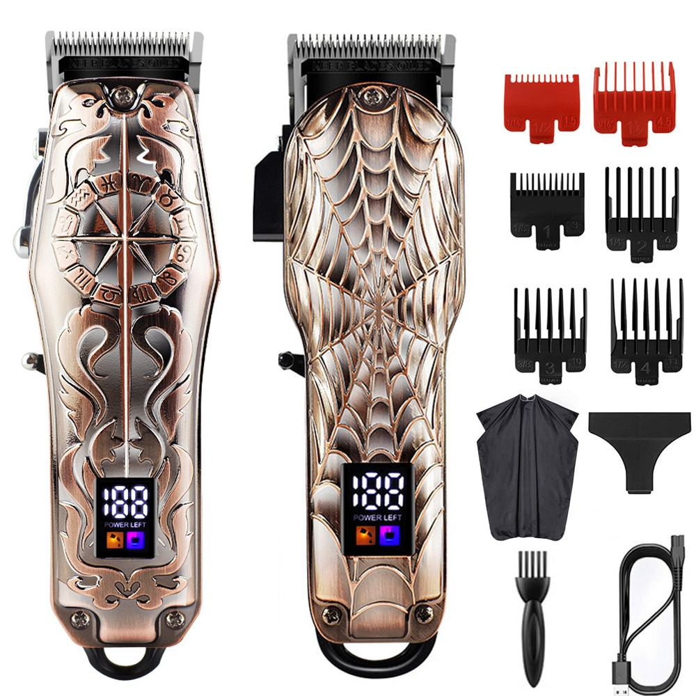 Professional barber hair clippers home Hair cutting machine with LCD Display Adjustable cone rod trimmer for men Grooming Kit