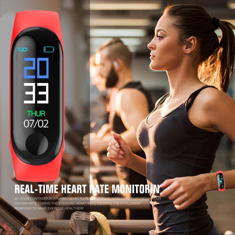 Смарт-часы M3, автоматический мониторинг сна, Bluetooth 4,0, браслет, фитнес-трекер, пульсометр, кровяное давление, браслет