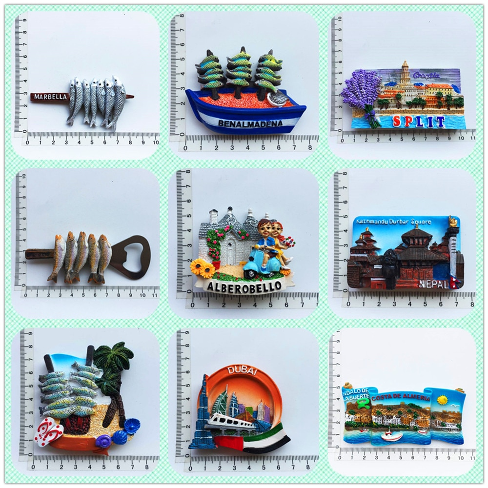 European and American Spain scenery 3D Fridge Magnets Tourism Souvenir Refrigerator Magnetic Sticker Collection Handicraft Gift south african tourism memorial tree leopard refrigerator