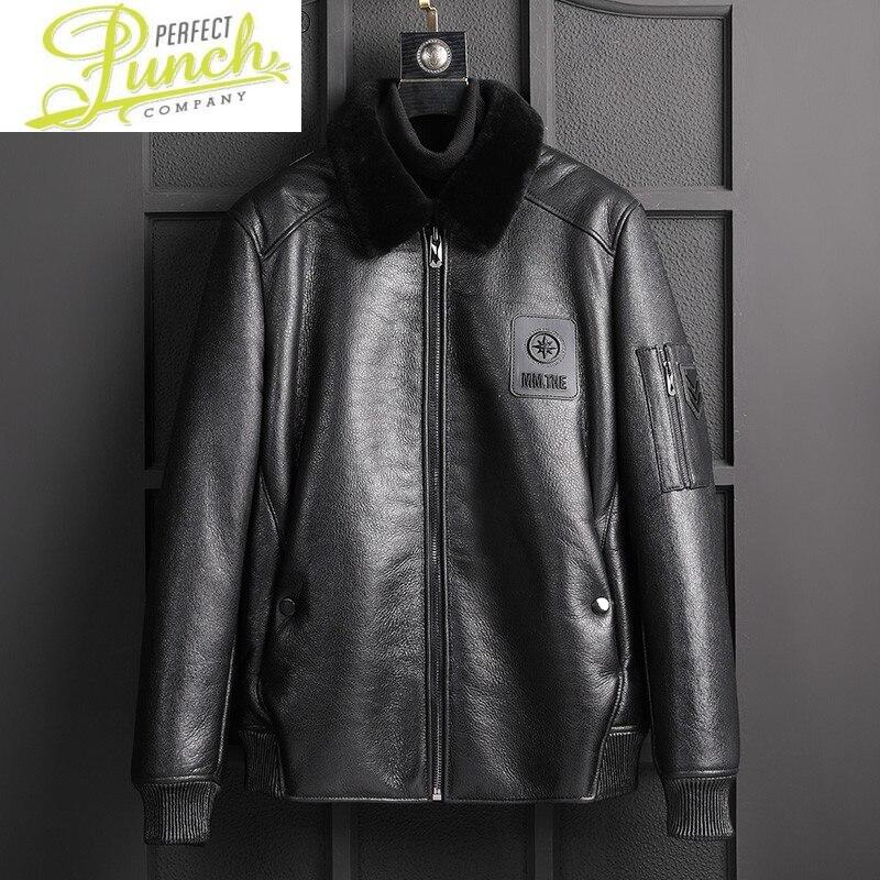 جلد الغنم الحقيقي شيرلينغ سترة الرجال الملابس جواكت شتوية الرجال دراجة نارية سترة ropa de hombre LXR1001