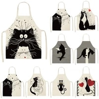 black cute cat print pattern apron baking accessories aprons for women apron kitchen cooking accessories cafe kitchen apron
