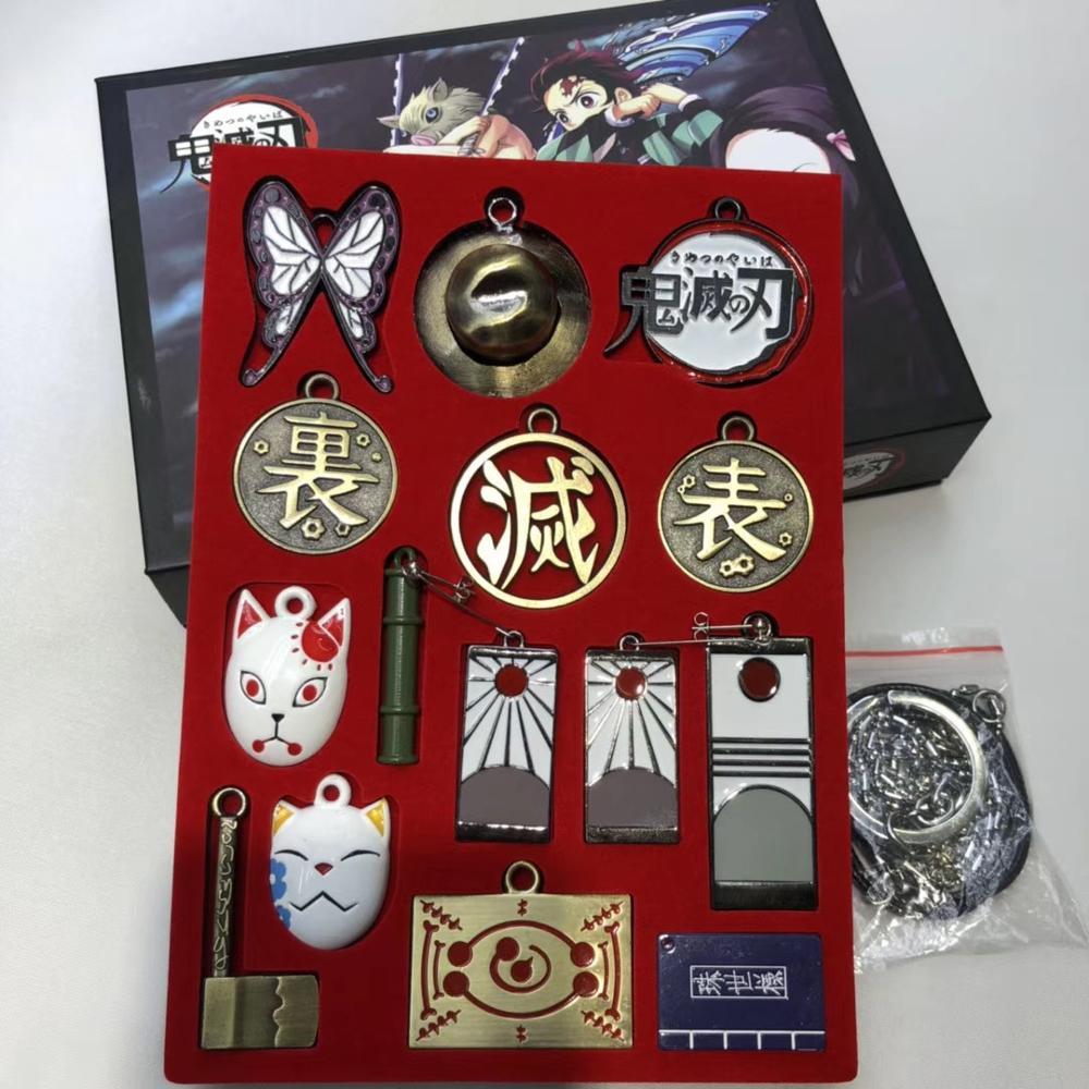 13 Uds. Llavero de Slayer demonio Kamado Tanjirou máscara mariposa bambú tubo zorro Metal colgante Kimetsu no Yaiba llavero Cosplay Prop