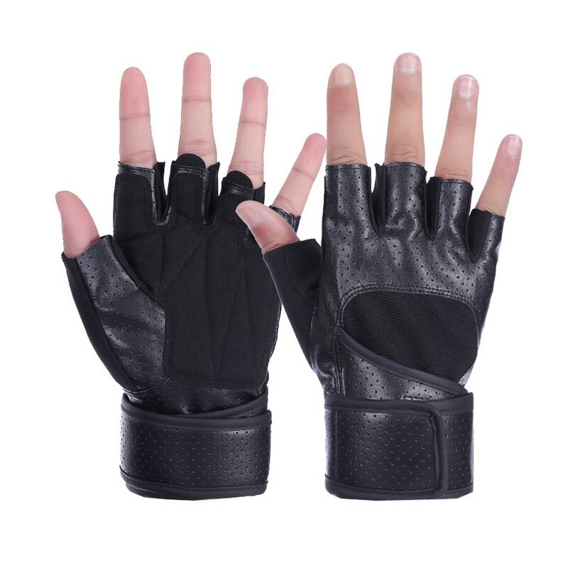 Weightlifting Gloves Half Finger Cycling Gloves Wrist Support Breathable Leather Gym Training Dumbbell Sport Fitness Equipment anti skid sports half finger care palms fitness gloves training dumbbell hand protector fitness equipment