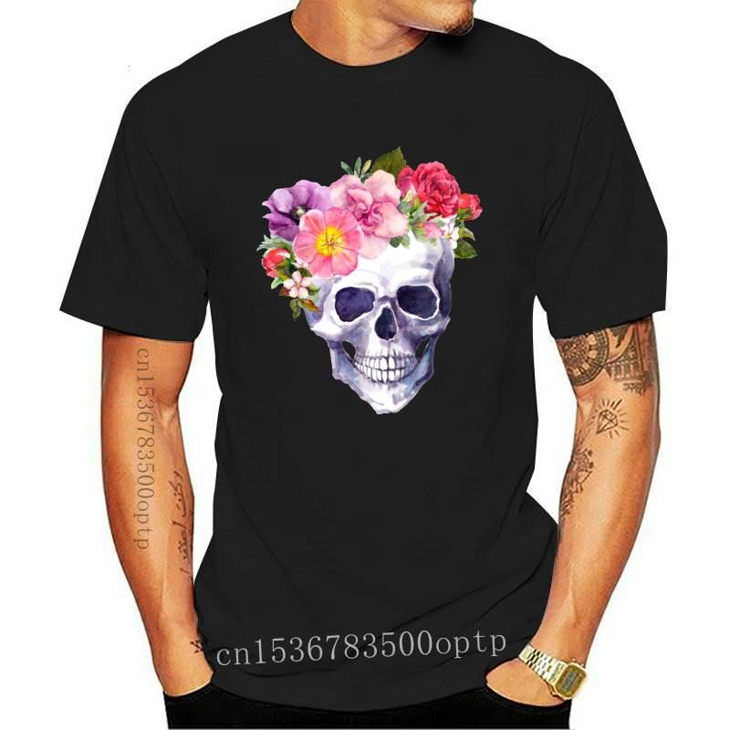 New Women 2021 Skull Flower Vintage Short Sleeve Fashion Print Summer Shirt T-shirts Top T Graphic Female Ladies Womens Tee T-Sh