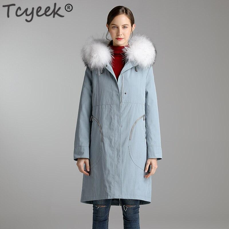 Tcyeek-معطف نسائي بقلنسوة من فرو الراكون الطبيعي ، ملابس شتوية ، معطف طويل ، 2020 B9116