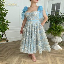 Sweet Blue Prom Dress Sweetheart Neck A-Line Sleeveless Spaghetti Strap Anke Length Backless Appliqu