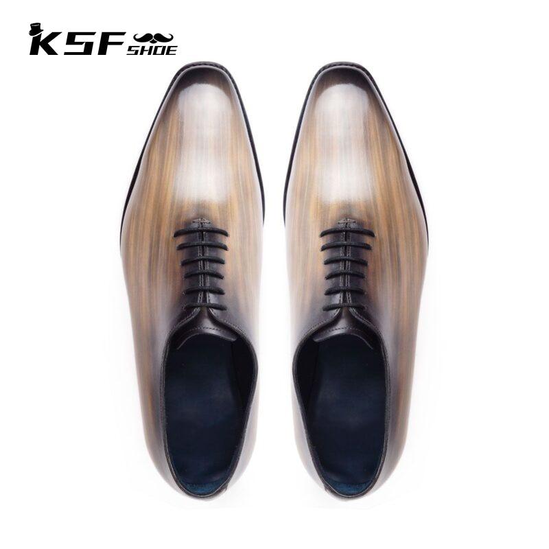 فاخر موضة العلامة التجارية مصمم حذاء رجالي الأصلي 2021 حفلة جلد طبيعي أكسفورد اليدوية حذاء مصنوع حسب الطلب للرجال Chaussure أوم