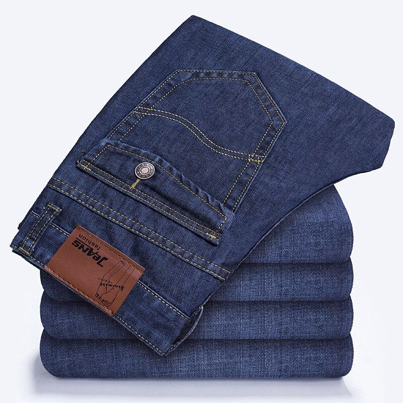 2020 outono calças de brim homens casual negócios algodão força denim calças de brim fino ajuste primavera em linha reta calças de brim masculino fino