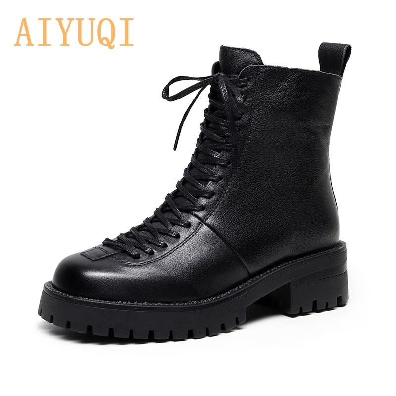 prova perfetto punk style women ankle boots special two kinds of wear rivet studded martin boots lace up genuine leather botas AIYUQI Ladies Genuine Leather Martin Boots 2021 Winter Fuzzy Lace-up Women Motorcycle Boots Thick Heel Women Shoes Boots