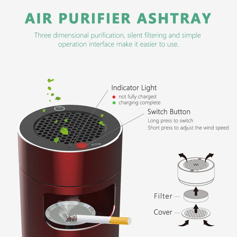 Intelligent Anion Air Purifier Ashtray Multifunctional USB Lighter Ashtray Anti Second-hand Smoke Ashtray for Hoom and Office enlarge