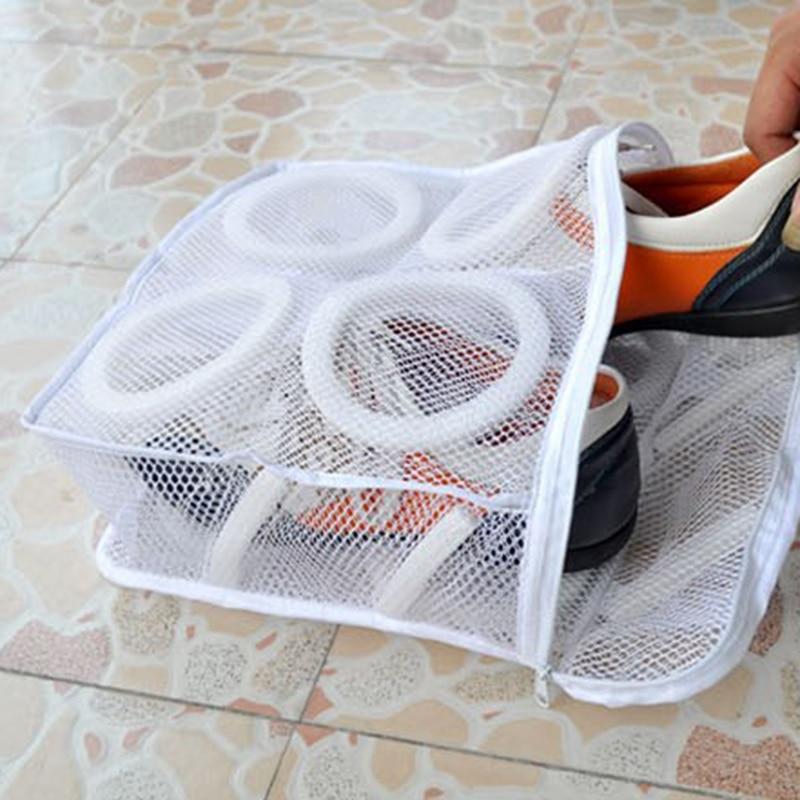 Bolsa organizador de lavandería para zapatos, bolsa de malla para limpieza de zapatillas, bolsa de almacenamiento para secado de zapatos, bolsa de lavado con cremallera, funda protectora para zapatos