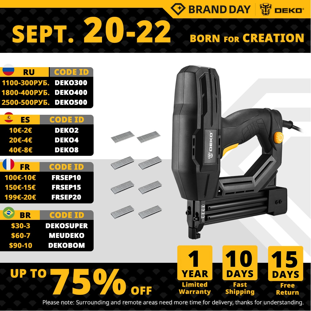 DEKO NEW DKET01/02  Electric Tacker Stapler Power Tools Furniture Staple Gun for Frame with Staples and Woodworking,Nail gun