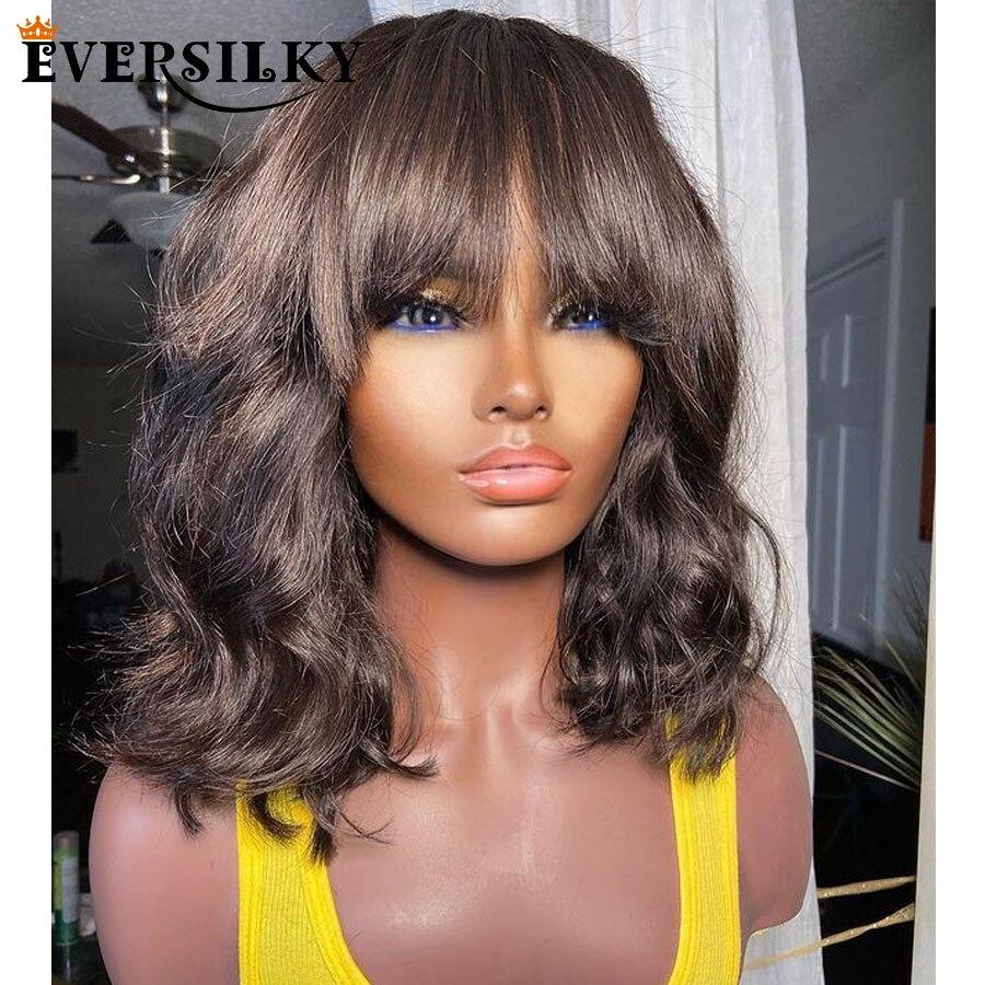 franja glueless 13x6 parte profunda do laco frente perucas de cabelo humano com cabelo