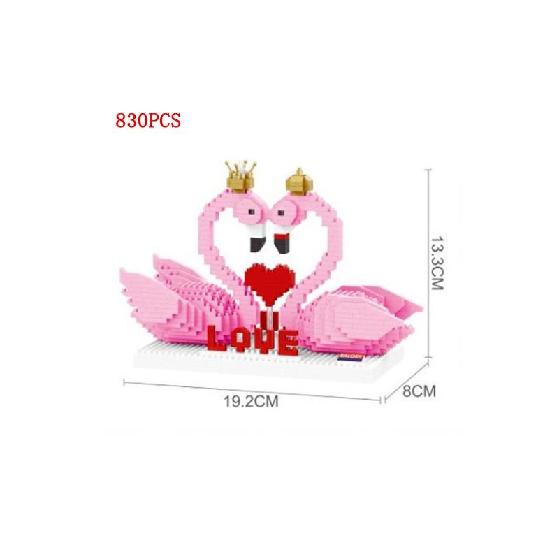 Creador de animales de amor, pájaro flamenco gemelo, bloque de micro Diamante, modelo nanobrick, colección de juguetes educativos para regalos de San Valentín