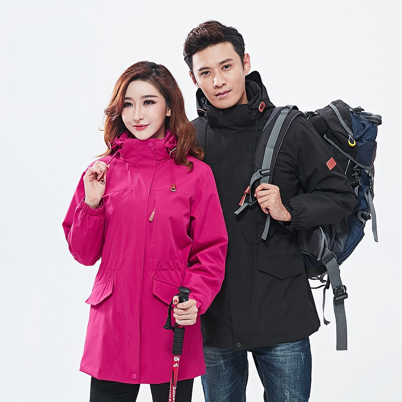 2021 new Autumn and winter outdoor medium and long two-piece suit men's windproof and warm women's ski suit couple's style