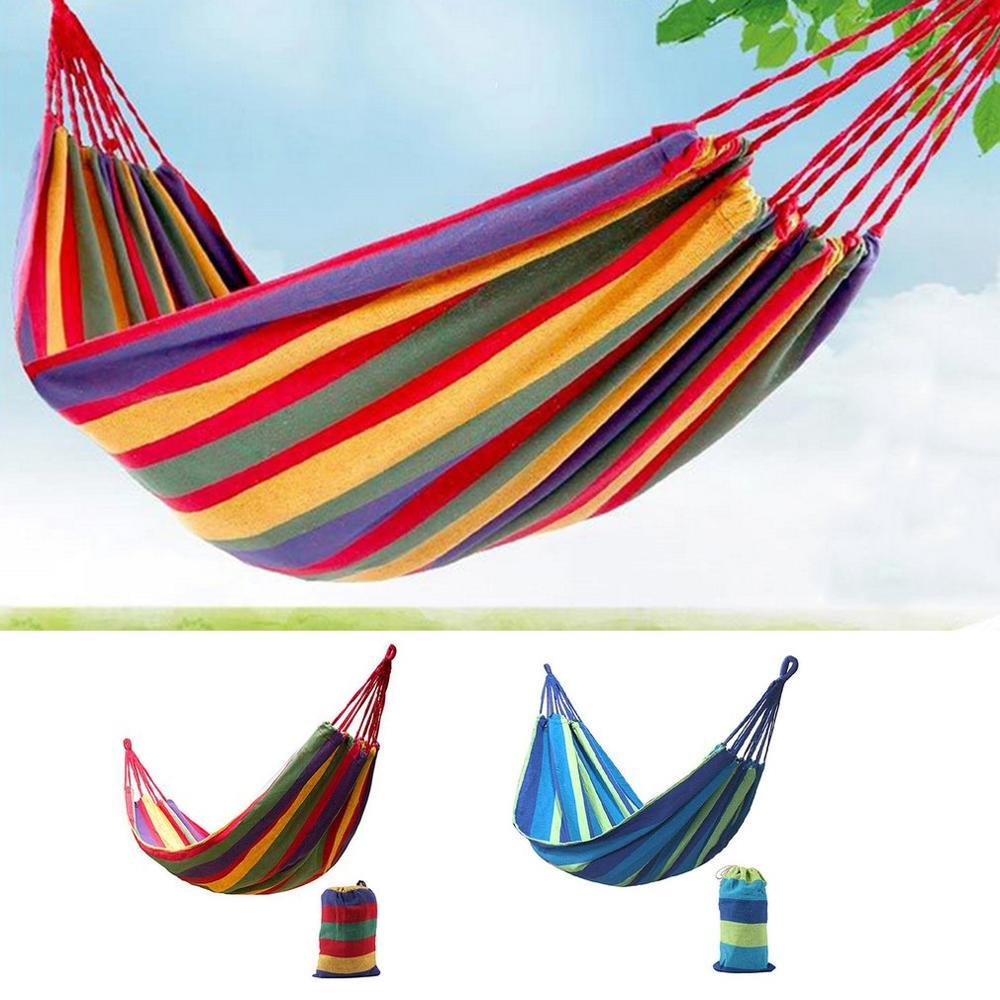 Портативный гамак в полоску, подвесная кровать, из толстой холщовой ткани, для отдыха на открытом воздухе, кемпинга, охоты