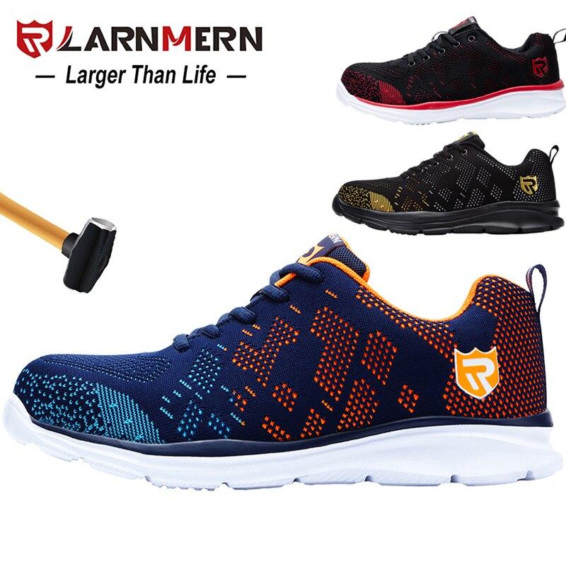 LARNMERM-أحذية أمان مقاومة للانزلاق مع مقدمة فولاذية مريحة وخفيفة الوزن ومسامية